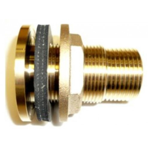 POK 25mm backplated brass tank connector (25mm socket, 25 spigot) left hand lock thread