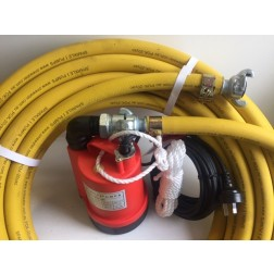 Submersible Pump BPS - 25mm minsup connector 3mm 'puddle sucker'  utility pump quick connect with 25mm hose x 20 M discharge hose - builder pack 3L