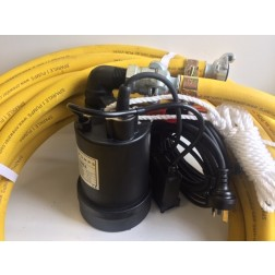 Submersible Pump BPO - 25mm minsup connector rope 3mm 'puddle sucker' low level auto pump quick connect with 20m discharge hose - builder pack5